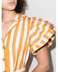 Evi Grintela Vestido camisero midi a rayas - Naranja