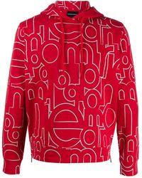 Emporio Armani Sweat imprimé à capuche - Rouge