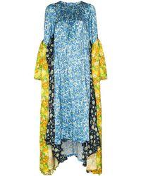 Vetements Mixed Floral Print Long Sleeve Midi Dress - Blue