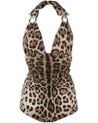 Dolce & Gabbana Leopard Print One-piece Swimsuit - Brown