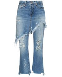 R13 Double Classic Shredded Jeans - Blue