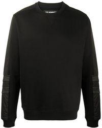 Les Hommes レザートリム スウェットシャツ - ブラック