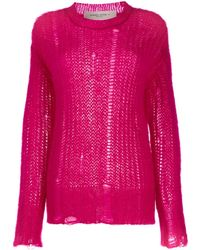 Golden Goose Deluxe Brand Distressed-effect Knitted Sweater - Pink