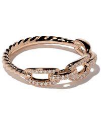 David Yurman Anello 'Stax' in oro rosa 18kt e pavè di diamanti - Metallizzato