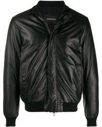 Emporio Armani Veste zippée en cuir - Noir