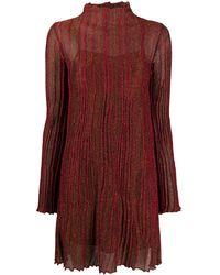 M Missoni Плиссированное Платье Миди С Длинными Рукавами - Красный
