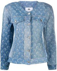 Marine Serre Структурированная Джинсовая Куртка - Синий