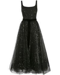 Marchesa notte Glitter Tulle Sleeveless Dress - Black
