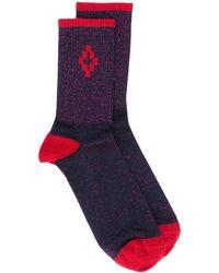 Marcelo Burlon Cross Lurex Short Socks - Purple