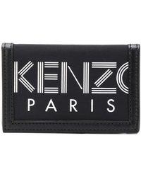 KENZO Logo Printed Black Leather Trim Wallet