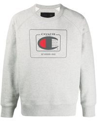 COACH Logo Crew-neck Sweatshirt - Grey