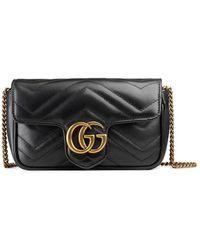 Gucci GG Marmont Matelass� Leather Super Mini Bag - Zwart