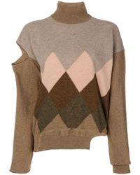 Erika Cavallini Semi Couture - Distressed Roll Neck Sweater - Lyst