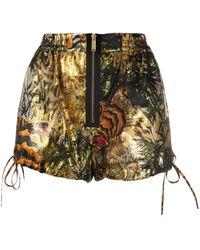 DSquared² Lamé-Shorts mit tropischem Print - Mettallic