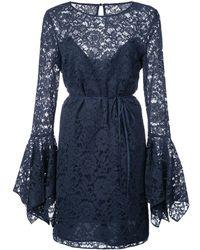 Zac Zac Posen Lace Pattern Flared Design Dress - ブルー