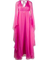 Pinko ドレープ Vネックドレス - ピンク