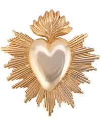 Oscar de la Renta Heart-shaped Brooch - Metallic