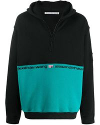 Alexander Wang Colour Block Half Zip Hooded Sweatshirt - Black