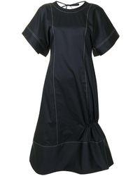 Eudon Choi Contrast-stitching Short-sleeve Dress - Blue