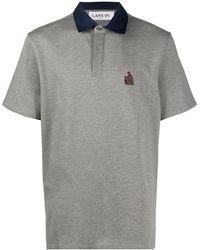 Lanvin Рубашка Поло С Вышитым Логотипом - Серый