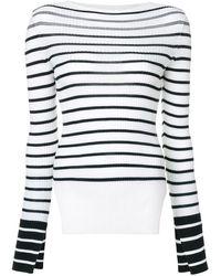 Mrz Striped Side-slit Jumper - White