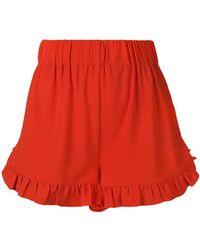 Ganni - Ruffled Trim Shorts - Lyst