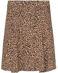 Reformation Flounce Leopard Print Mini Skirt - Brown