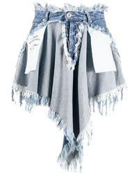 Unravel Project Chaos Distressed Effect Denim Skirt - Blue