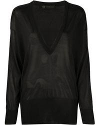 Versace Джемпер Оверсайз С V-образным Вырезом - Черный