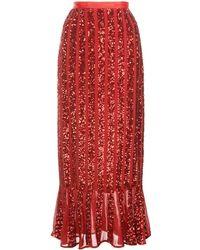 Saloni Aidan Sequinned Skirt - Red
