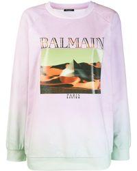 Balmain Sweatshirt mit grafischem Print - Mehrfarbig