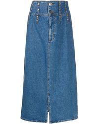 Sandro Jupe en jean à taille haute - Bleu