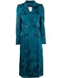 Talbot Runhof Buckingham Brushstroke-jacquard Coat - Blue