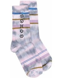 Acne Studios Graphic-print Tie-dye Socks - Purple
