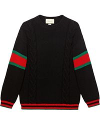 Gucci Cable Knit Jumper - Zwart