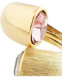 Oscar de la Renta Crystal-embellished Curved Ring - Metallic