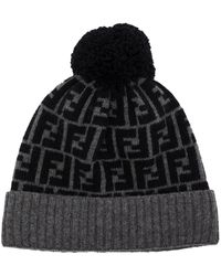 Fendi Jacquard Ff-logo Wool Beanie - Grey