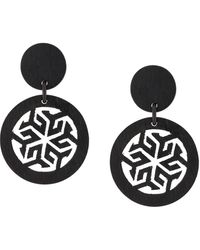 Natori Round Clip-on Earrings - Brown