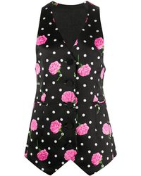 Paco Rabanne Floral Tailored Waistcoat - Black