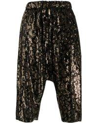N°21 Sequinned Shorts - Black
