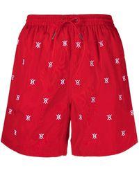 Daily Paper Logo Drawstring Swim Shorts - Red