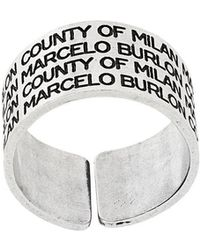 Marcelo Burlon - Logo Engraved Wide Ring - Lyst