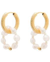 Anni Lu Ring Of Pearls Hoop Earrings - Metallic