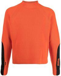 PUMA リブニット パネル セーター - オレンジ