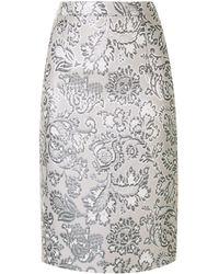 Andrew Gn Floral Brocade Pencil Skirt - Metallic