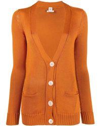 Hermès Трикотажный Кардиган С V-образным Вырезом - Оранжевый