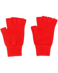 Pringle of Scotland Fingerless Cashmere Gloves - Orange
