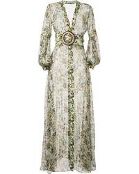 Silvia Tcherassi Sheer Camouflage-print Maxi Dress - Green