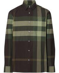 Burberry Geruit Overhemd - Groen