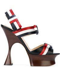 Thom Browne Open Toe Shaped Platform Heel (15 Cm) With Bow Strap In Pebble Lucido Leather & Calf Leather - Red